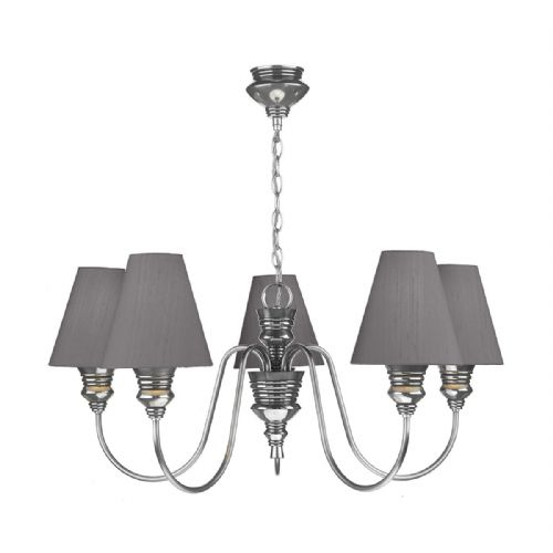 Dar Doreen 5 Light Pendant Pewter complete with Silk Shades (Specify Colour) DOR0599